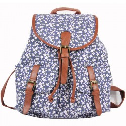 Fashion Flowers Elephant Floral Printing National PU Belt Two Pockets School Canvas Backpack