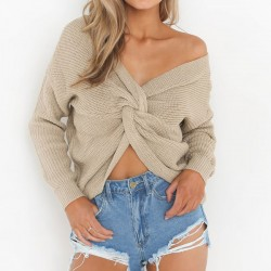 Women's V-neck Sweater Bare Midriff Knot Hollow Out Halter Zipper Sexy Sweater