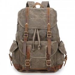Vintage Washing Colors Waterproof Canvas Splicing Leather Belt Drawstring Flap Large Travel Backpack