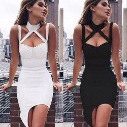 Fashion Strap Strapless Halter Neckless Sleeveless Tight-fitting Nightclub Sexy Dress