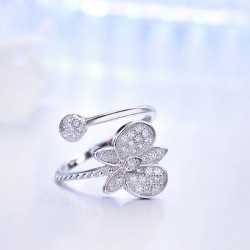 Cute Design Silver Butterfly Diamond Adjustable Open Ring