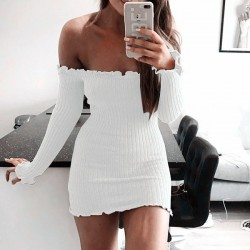 Sexy Long Sleeves Slim Fit Hip Women's Off Shoulder Wool Sweater Knitting Dress