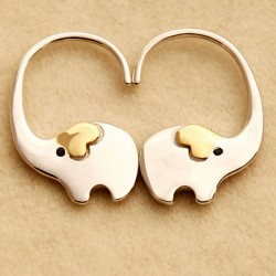 Fashion Cute Elephant Nose Hang Animal Silver Women Earring Studs Eardrop