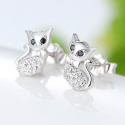 Fashion Retro Cute Cat Diamond-bordered Kitty Silver Women Animal Earring Studs