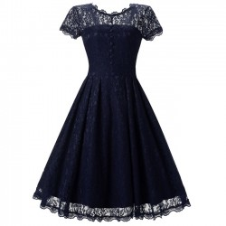 Retro Splicing Lace Hollow-out See Through Sweet Women's Party Umbrella Skirt Dress
