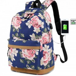 Leisure Large Flower Middle School Bag Floral USB Interface Rose Canvas Laptop Student Backpack