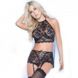Sexy Lace High Waist Bundle Flower Bra Panty 2 Piece Set Underwear Women Intimate Lingerie