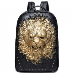 Cool 3D Lion Rivets Large Animal Men's Travel Punk PU Stereo Ferocious Backpacks