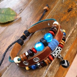 National Blue Beads Leather Bracelet