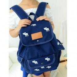 Cute Leisure White Deer Canvas Backpack