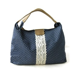 Sweet Dot Print Lace Canvas Handbag