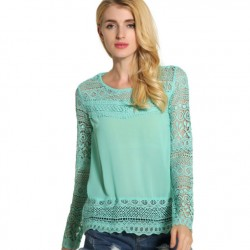 Sexy Nice Long Sleeve Loose Slim Lace Hollow Splice Tops