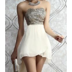Sexy Sequins Slim Strapless Irregular Dress &Party Dress