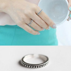 Retro Plated Pearl Square Hollow Totems Dot Design Silver Open Ring