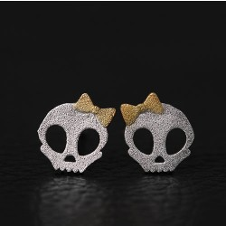 Original Dark Princess Punk Bowdot Skull Silver Earring Studs