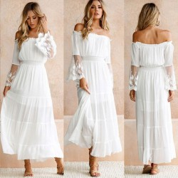 Fresh Cross Neck Strapless Skirt White Lace Summer Dress