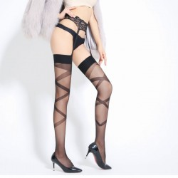 Sexy Garter Cross Jacquard Perspective Stockings Over Knee Socks Women Lingerie