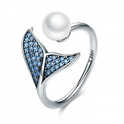 Cute Mermaid Tail Pearl Zircon Open Silver Ring
