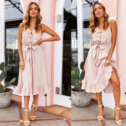 Leisure Sleeveless Strap Tassel Long Sexy Openwork Cotton Summer Dress