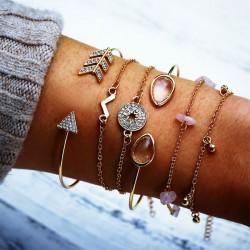 Fashion Compass Crushed Stone V type Arrow Six-piece Open Women Bracelet