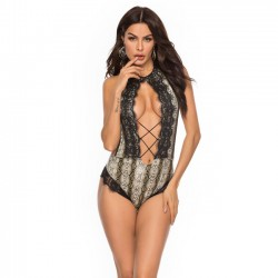Sexy Snakeskin Pattern Siamese Open Bust Lace Conjoined Women Intimate Lingerie