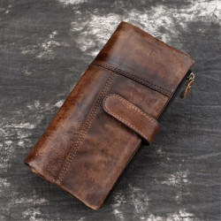 Leisure Original Handmade Long Stitching Real Vintage Purse Leather Wallet Clutch Bag