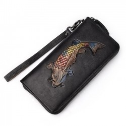 Retro Original Goldfish Handmade Purse 3D Fish Embossed Long Wallet Clutch Bag