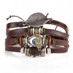 Retro Rope Wax Leaf Owl Blue Eyes Lady Bracelet Multi-layer Bracelet