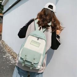 Fashion Contrast Color Double Buckle Student Bag Nylon Waterproof School Backpacks