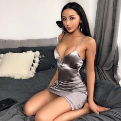 Sexy Evening Dress Deep V Pure Color Slim Sling Dress