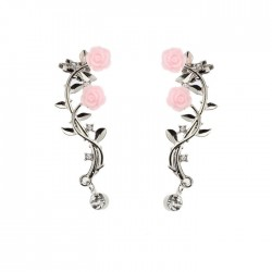 Lovely Rose Leaves Branch Flower Rhinestone Girl's Ear Clips