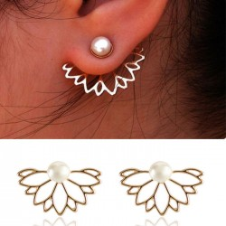 Cute Pearl Lotus Ear Studs Girl's Earring Studs