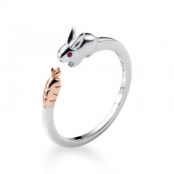 Sweet Rabbit Open Rings Girls Adjustable Open Animal Jewelry Gifts Silver Ring