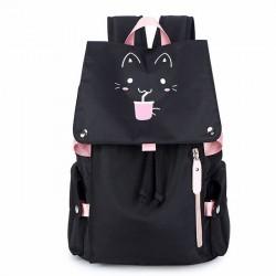 Fresh Cartoon Fluorescence Cat Drink Large Capacity Computer Backpack Flower Waterproof School Backpack