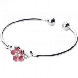 Sweet Silver Flower Cherry Open Bracelet Jewelry Gift For Her Adjustable Bangle