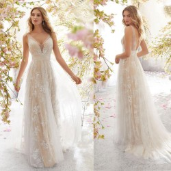 Sexy Lace Sleeveless Party Long Dress Mesh Flower Leaves Bridesmaid Dress