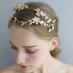 Sweet Baroque Style Queen Crown Asymmetric Handmade Flower Leaves Pearl Bridal Headdress Hair Accessories
