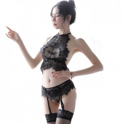 Sexy Eyelash Lace Splice Black Perspective Bra Set Women's Lingerie
