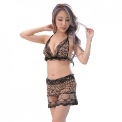 Sexy Lace Leopard Bra Set Short Skirt Women's Lingerie