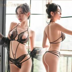 Sexy Lace Angel Wings Style Hollow Butterfly Panties Teddy Bodysuit Women's Lingerie