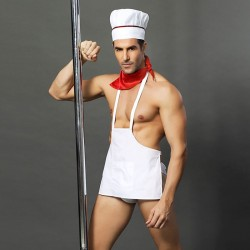 Sexy Nightclub Bar Show Male Chef Costumes Cook Cosplay Men's Lingerie