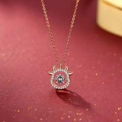 Fashion Cattle Head Zircon Turn Diamond Cow Head Pendant Silver Women Necklace