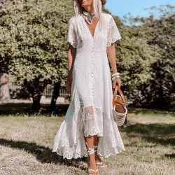 Fashion Deep V Neck Middle Sleeve Flower Lace Irregular Skirt Maxi Dress Party Evening Gown Dress