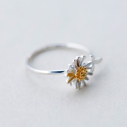 Sweet Yellow Daisy Jewelry Birthday's Gift For Her Ring Flower Leaves Silver Open Rings