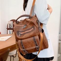 Retro Punk Soft Pu Leather Double Buckle Multipurpose Handbag Shoulder Bag Rivet Women's Backpack