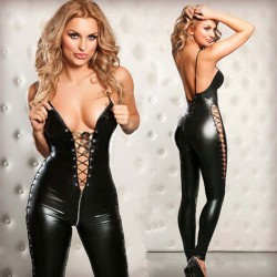 Sexy Wild Zipper Patent Leather Bandage Underwear Teddy Bodysuit Pants Women's Lingerie Bodystocking