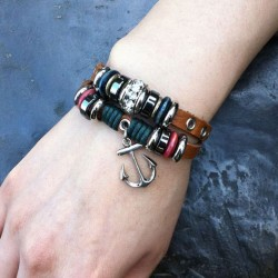 Vintage Rhinestone Anchor Leather Bracelet