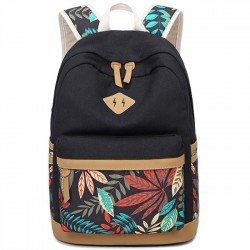 Fresh Leaves Patterns Printing Designed College Bag Leisure Travel Canvas School Backpack