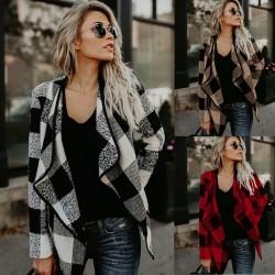 Casual Plaid Women's Jacket Lapels Woolen Lattice Coat