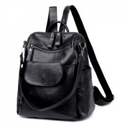 Fashion Pure Color Black Multifunction School Shoulder Bag PU Student Backpacks